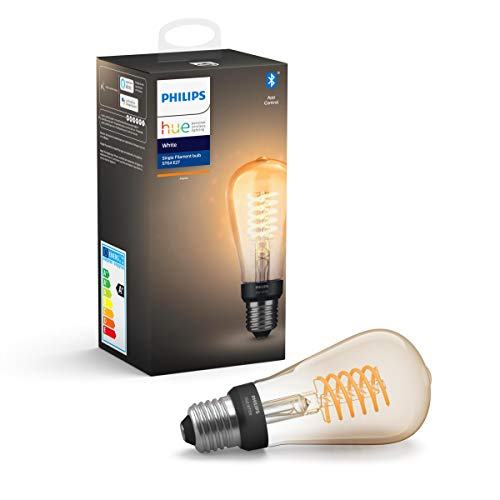 Philips Hue White Filament E27 LED Kolben, dimmbar, warmweißes Licht, steuerbar via App, kompatibel mit Amazon Alexa (Echo, Echo Dot)