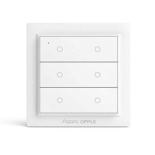 Für Aqara/OPPLE Wireless-Wandschalter, Smart-Wandschalter, Unterstützung für Apple HomeKit, mit magnetischem Design, ZigBee Smart Link (Sechs Schlüssel)